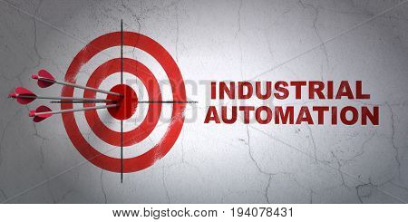 Success Industry concept: arrows hitting the center of target, Red Industrial Automation on wall background, 3D rendering