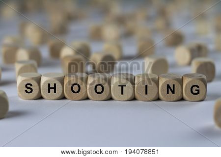 Shooting - Cube With Letters, Sign With Wooden Cubes