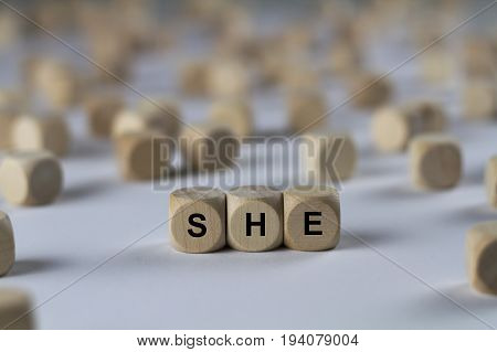 She - Cube With Letters, Sign With Wooden Cubes