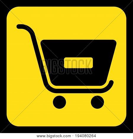 yellow rounded square information road sign with black shopping cart minus icon and frame