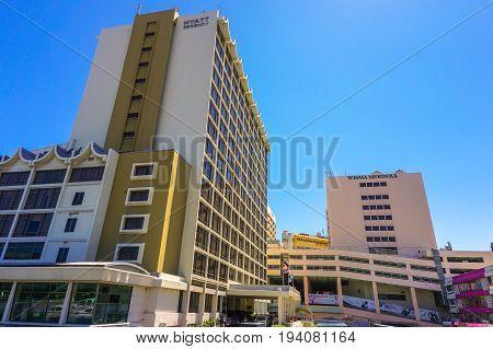 Kota Kinabalu,Sabah-June 17,2017:Wisma Merdeka Shopping Mall & Hyatt Regency Kinabalu Hotel in Kota Kinabalu,Sabah,Malaysia.It is the landmark in the heart of downtown Kota Kinabalu,Sabah,Borneo.