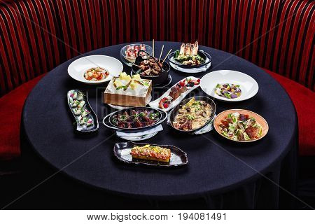 Selection of pan-Asian dishes on the table