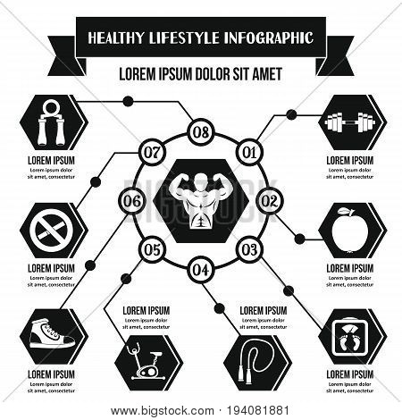 Healthy lifestyle infographic banner concept. Simple illustration of healthy lifestyle infographic vector poster concept for web