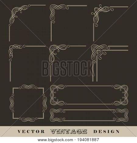 Abstract frames borders corners. Set of vintage vector calligraphic linear corners and retro frames