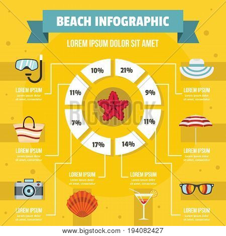Beach infographic banner concept. Flat illustration of beach infographic vector poster concept for web