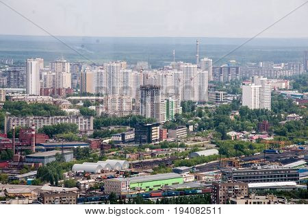 Yekaterinburg, Russia - June 3, 2017: A View At The Modern Residential Quarter With Train Station On