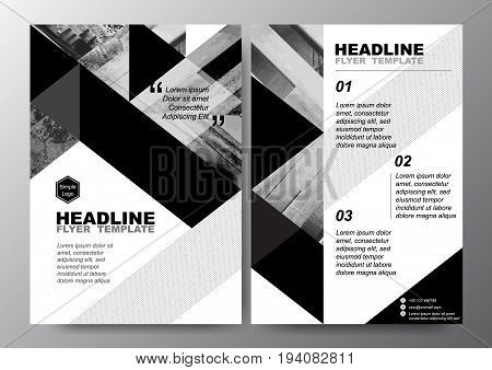 Abstract black white triangle background for minimal Poster Brochure Flyer design Layout vector template in A4 size