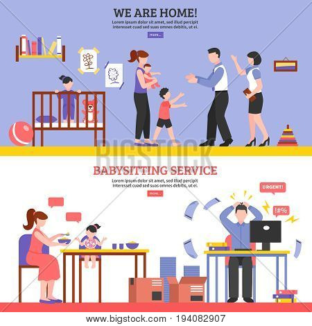 Babysitter horizontal banners set with nanny symbols flat isolated vector illustration