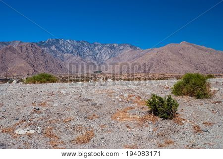 The stark desert landscape and the San Jacinto mountains near Palm Springs in Southern California.