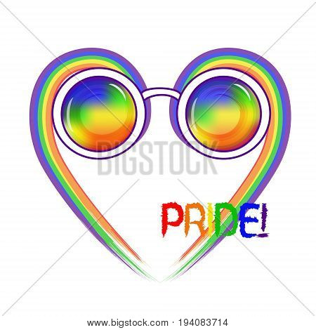 Stylish round glasses. Using original rainbow colors . Unconventional sexual orientation for LGBT gay and lesbian parade. Text Pride. Vector illustration of a flat style design for t-shirt and web