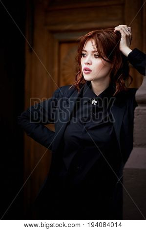 Beautiful red-haired tone pink rhinestone enamel puffy . Medium length hair.Ginger