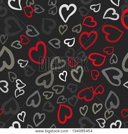 Grey and Red hearts seamless vector tile. Valentines day background. Flat design endless chaotic texture made of tiny heart silhouettes.