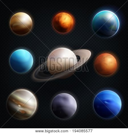 Planet realistic icon set with earth mars Jupiter Saturn Venus and others planets of the solar system vector illustration