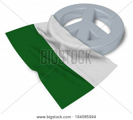 peace symbol and flag of saxony - 3d rendering