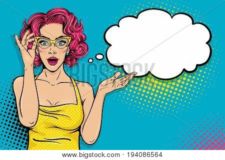 Wow Pop Art Female Face. Sexy Surprised Young Woman In Glasses With Open Mouth And Pink Curly Hair A