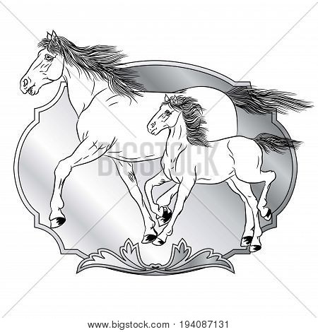 Horse with a foal with a design of shields - animals with heraldic design elements.