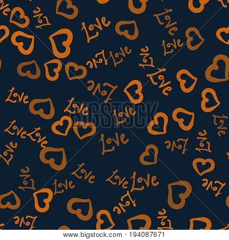 Hearts shape and love world hand drawn seamless background.Valentines Day Postcard wallpaper or wraping paper.