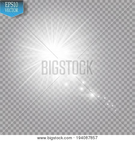 A bright comet with large dust. Falling Star. Glow light effect. White lights. Vector illustration