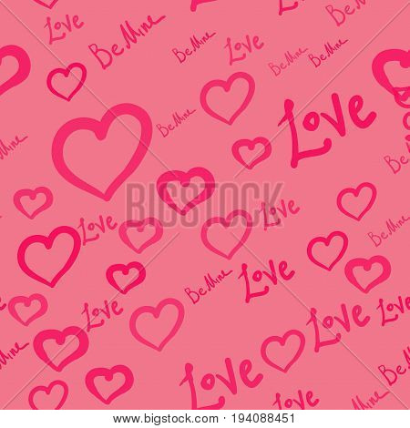 Hand drawn doodle seamless pattern of hearts, love and be mine worlds pink on pink background.