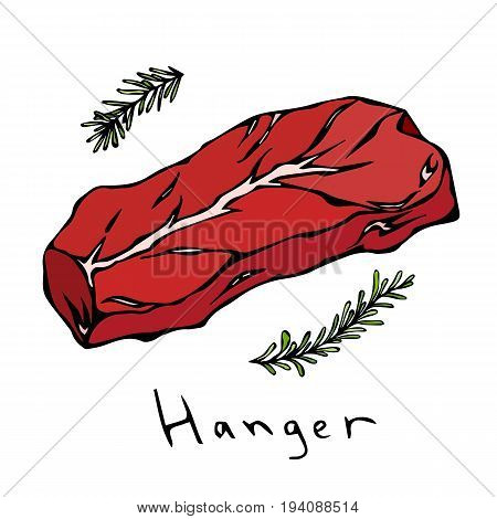 Hanger Steak Cut Vector Isolated On White Background.