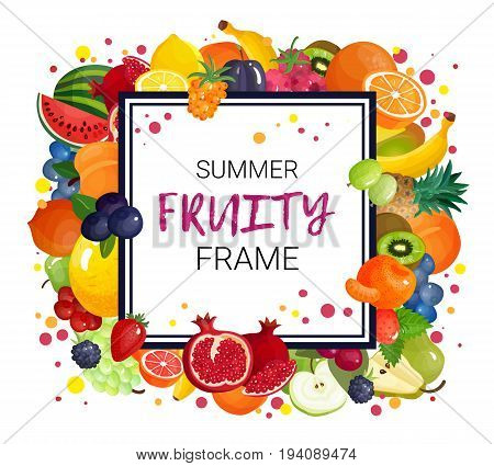Berries and fruits juice frame composition of natural greengrocery slices with colorful dots and decorative text vector illustration