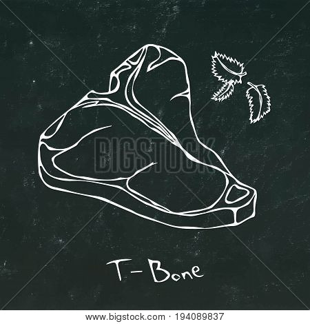 T-Bone Steak Cut Vector On Chalkboard Background.