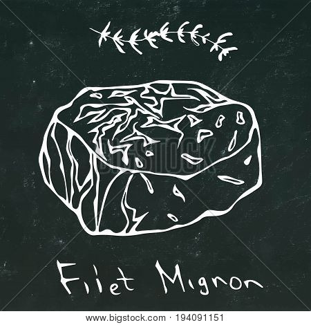 Filet Mignon Steak Cut Vector On Chalkboard Background.