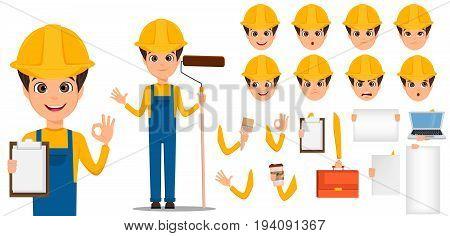 Builder cartoon character creation set. Young handsome installer in uniform and helmet. Build your personal design - stock vector