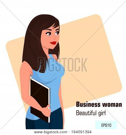 Young cartoon business woman with file wearing office style clothes. Beautiful brunette businesswoman. Isometric projection - stock vector