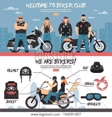 Biker club horizontal banners set with equipment symbols flat isolated vector illustration