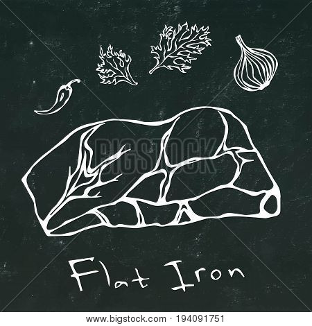 Flat Iron Steak Cut Vector On Chalkboard Background.