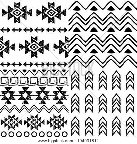 Tribal pattern collection, Aztec background set, Navajo design in black pattern on white