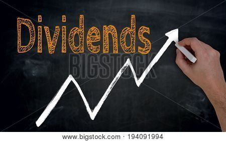 Dividends And Graph Is Written By Hand On Blackboard