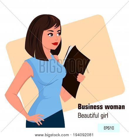 Young cartoon business woman with file in left hand wearing office style clothes. Beautiful brunette businesswoman. Isometric projection - stock vector