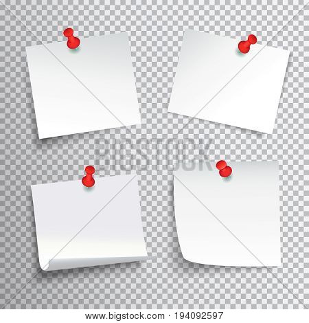 Blank white paper set pinned with red pushpins on transparent background realistic isolated vector illustration