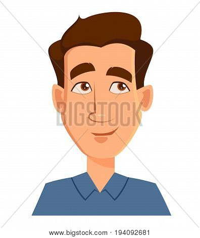 Face expression of a man - thinking. Male emotions. Handsome cartoon character. Vector illustration isolated on white background.