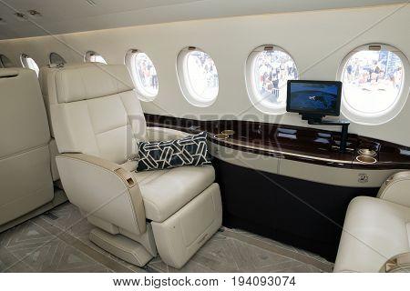 PARIS FRANCE - JUN 23 2017: Modern interior business jet Dassault Falcon 2000LX at the Paris Air Show 2017.