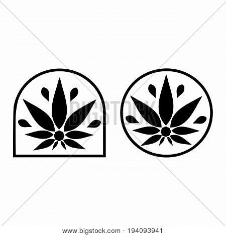 Cannabis logo. Hemp Line icons. Stylized leaf cannabis. Sign T-shirts for design creating corporate identity and promotional products.