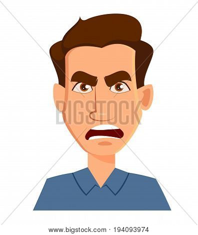 Face expression of a man - anger. Male emotions. Handsome cartoon character. Vector illustration isolated on white background.
