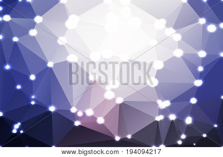 Pale pink blue abstract low poly geometric background with defocused lights