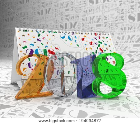 Number 2018 against the background of the calendar and the figures are two zero one eight. 3d illustration