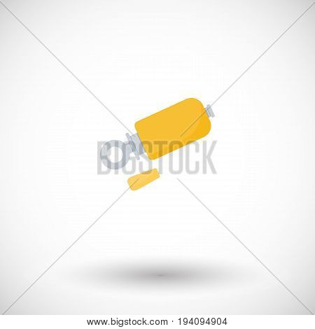 Bird call whistle flat vector icon flat design of birds watching hobby and hunting object with round shadow isolated on the white background vector illustration