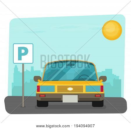 Parking lot vector illustration flat parking lot sign near the car parked