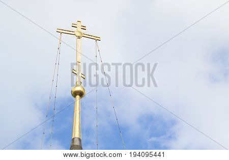 The golden cross on St. John the Baptist Church in Yaroslavl, Russia.