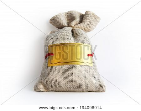 White Drawstring Bag Packaging Isolated On White Background