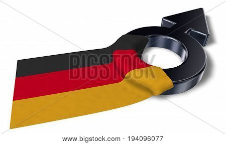 male symbol and flag of germany - 3d rendering