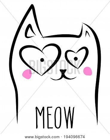 Romantic domestic cat pet mascot outline sketch heart shaped eyes and Meow word. Vector illustration isolated over white.