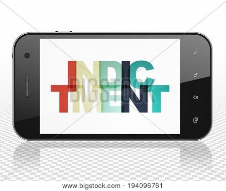 Law concept: Smartphone with Painted multicolor text Indictment on display, 3D rendering