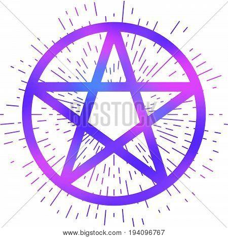 Pentagram icon brush drawing magic occult star symbol. Vector illustration in vibrant purple isolated over white.