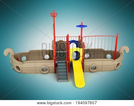 Playground Ship Blue Red Yellow 3D Render On Blue Background